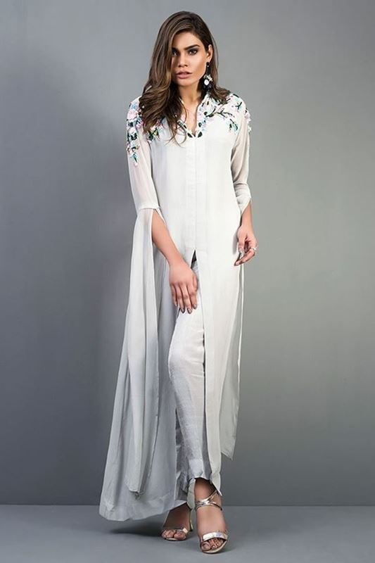 Sadaf Amir - Grey Formal Chiffon Shirt