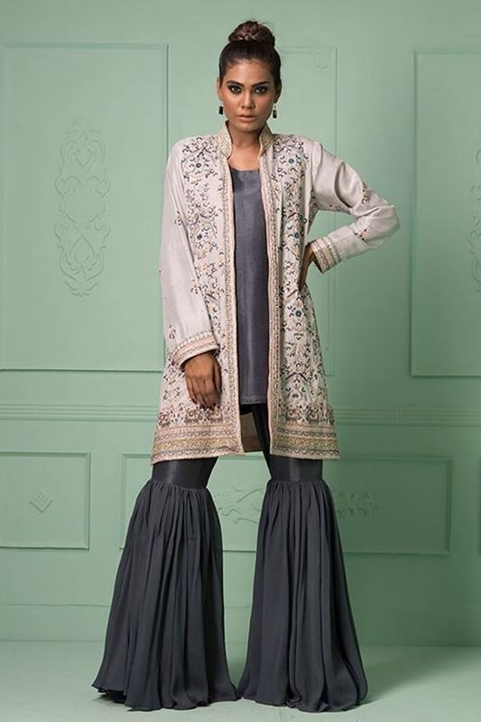 Sadaf Amir - Grey Formal Raw Silk Gharara