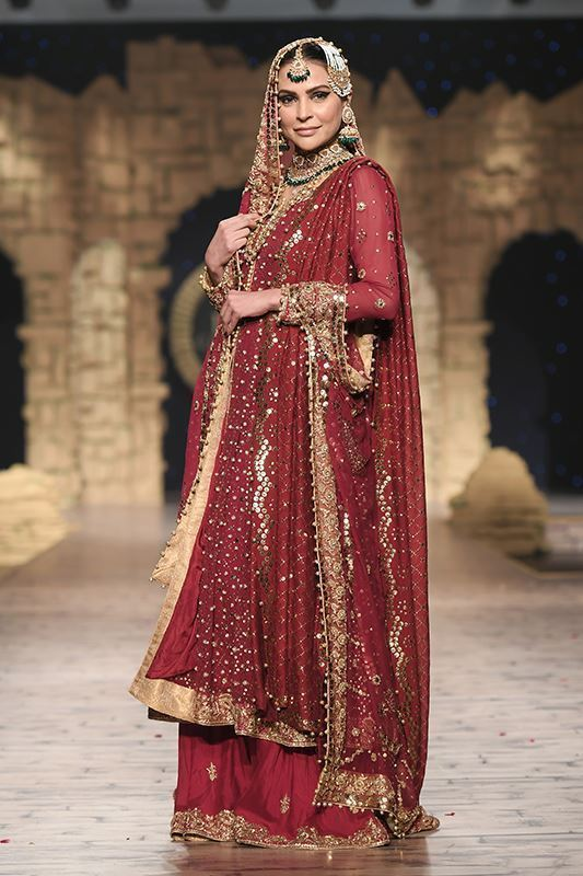 Sadaf Amir - Red Bridal Raw Silk Lehenga
