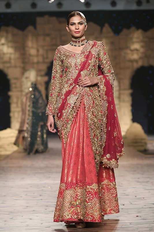 Sadaf Amir - Red Bridal Raw Silk Saree by Sadaf Amir